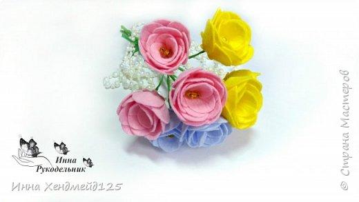 Сделала вазочку и захотела ещё сделать цветы для неё. Материалы: фетр (или вискозные салфетки), нитки, клей, проволока, бисер, гофрированная бумага. фото 4