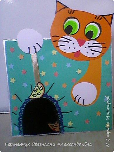 """Сегодня с ребятами на уроке  трудового обучения  работали над изготовлением динамической игрушки """"Котенок и мышонок"""". Эту  игрушку увидела на страницах Интернета  и решила  сделать с ребятами,немного изменив  ее. фото 3"""