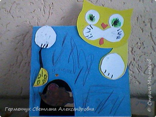 """Сегодня с ребятами на уроке  трудового обучения  работали над изготовлением динамической игрушки """"Котенок и мышонок"""". Эту  игрушку увидела на страницах Интернета  и решила  сделать с ребятами,немного изменив  ее. фото 12"""