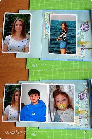 Альбом на юбилей моей мамы. Собрала фотографии всех внуков, каждая страница пренадлежит одной семье. Фотографии все 10см-15см. В альбом можно всегда добавить страницу.  фото 3