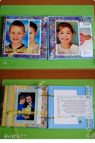Альбом на юбилей моей мамы. Собрала фотографии всех внуков, каждая страница пренадлежит одной семье. Фотографии все 10см-15см. В альбом можно всегда добавить страницу.  фото 5