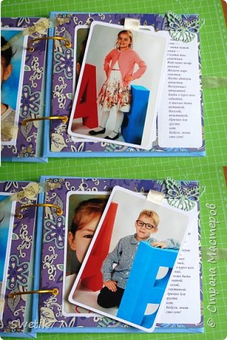 Альбом на юбилей моей мамы. Собрала фотографии всех внуков, каждая страница пренадлежит одной семье. Фотографии все 10см-15см. В альбом можно всегда добавить страницу.  фото 7