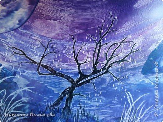 Здравствуйте,  дорогие жители СМ. Создалась серия картин с удивительными деревьями. Вдохновение получила, увидев яркие картины Энн Мари Боун из Великобритании. Она рисует красками, а у меня эти, чарующие деревья, выросли из под утюга с воском. фото 1