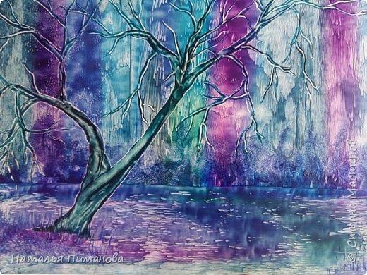 Здравствуйте,  дорогие жители СМ. Создалась серия картин с удивительными деревьями. Вдохновение получила, увидев яркие картины Энн Мари Боун из Великобритании. Она рисует красками, а у меня эти, чарующие деревья, выросли из под утюга с воском. фото 2
