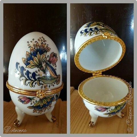 Впервые попробовала технику пейп-арт Татьяны Сорокиной https://stranamasterov.ru/user/151613 Декорировала яйца к Пасхе. Это яйцо было куплено в фикспрайсе, оно открывается и превращается в шкатулку)  фото 2