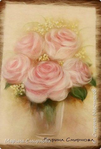 """Картина из шерсти """"Нежные розы"""""""