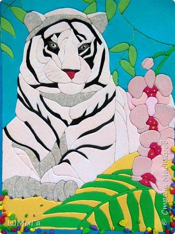 """Еще одна работа моей ученицы для районной выставки-конкурса """"Острова вдохновения"""". Лика выбрала для своей работы белого тигра. фото 1"""