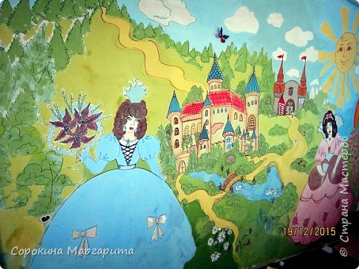 """В детской была просто стена ... Пофантазировала на тему """"Сказочный замок и принцессы"""" ...Закончили рисовать к Новому году, в декабре...а начиналось в сентябре))) фото 1"""