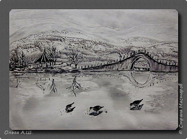 Монохромный пейзаж. Формат А3. фото 1