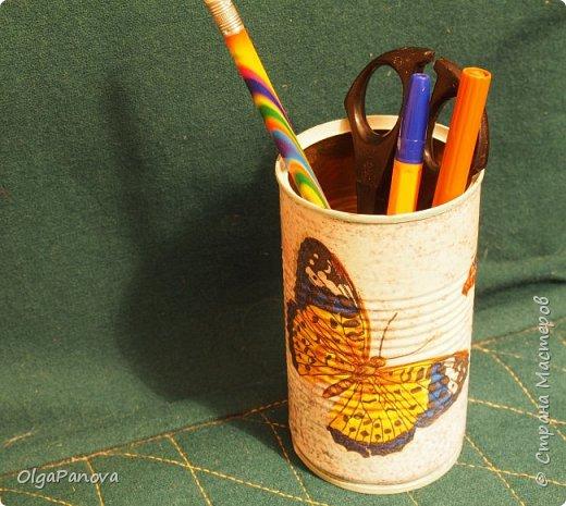 В качестве объектов для наработки опыта в декупаже выбрала простые баночки и коробочки. Простой декупаж по картону, плпстику и металлу. Результат- предметы для подручных материалов и инструментов для рукоделия. фото 4