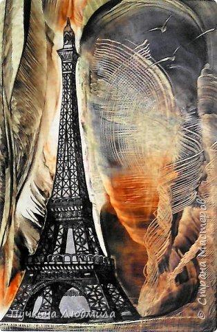 """""""Я люблю Париж..."""", ф.А.4, картон, утюг, воск, техника- энкаустика фото 1"""