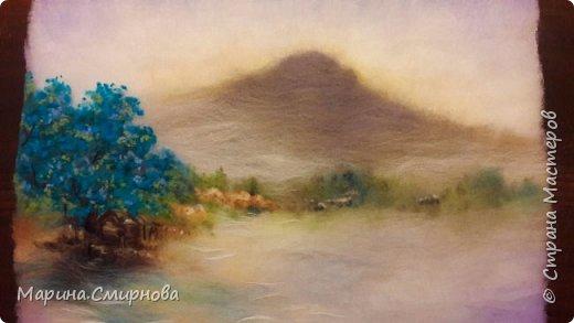 Картина из шерсти. Пейзаж в дымке. Процесс создания