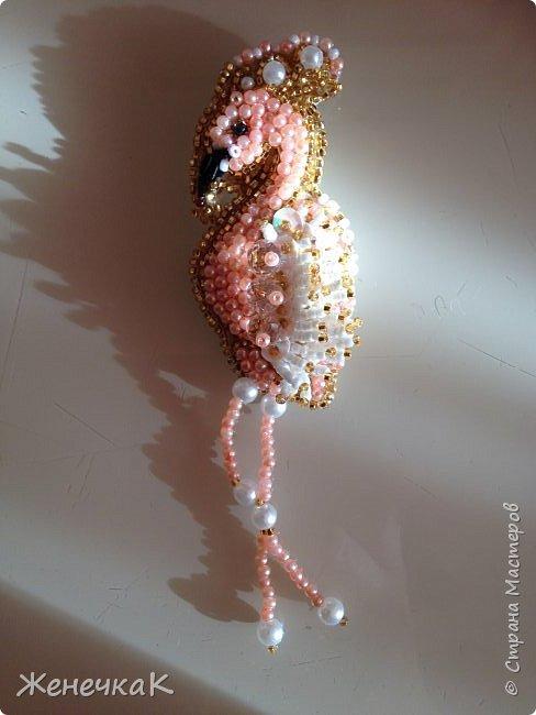 Новая брошечка. Розовый фламинго. фото 2