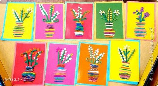"""Работы детей 5-6 лет. Составляли изображения из пластилиновых клубочков. """"Лебединое озеро"""" фото 8"""