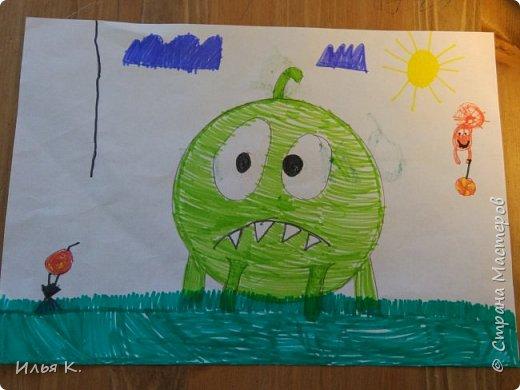 """Здравствуйте дорогие друзья! Сегодня я хочу пригласить детей на мой конкурс рисунков. Тема: """"Мультяшные герои"""". Я вам для этого конкурса хочу показать свой рисунок. Я нарисовал Амняма. Это герой мультика,который ищет конфетки и живёт в коробке."""