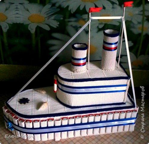 Добрый вечер! Вот такой корабль отправился поздравлять будущего моряка. Делала впервые, хочу услышать Ваше мнение, конструктивную критику приветствую.   фото 1