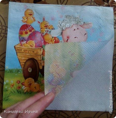 Материалы: плотный картон (у нас был 1 мм); яичная скорлупа (~4 шт, от вареных яиц); клей ПВА; кисточка; ножницы; губка; салфетка с рисунком; декоративный скотч (может не понадобится). фото 5