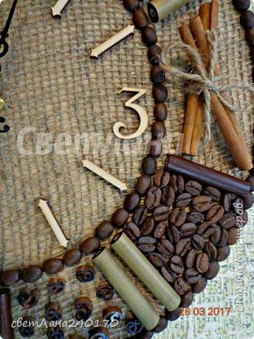 Часы.Диаметр 30см.Кофе + мешковина, с ароматом корицы,гвоздики,бадьяна фото 2