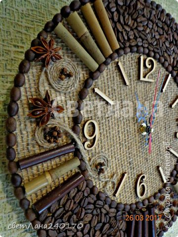 Часы.Диаметр 30см.Кофе + мешковина, с ароматом корицы,гвоздики,бадьяна фото 3
