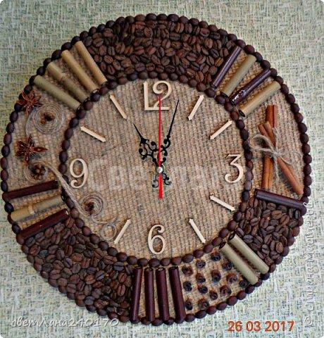 Часы.Диаметр 30см.Кофе + мешковина, с ароматом корицы,гвоздики,бадьяна фото 1