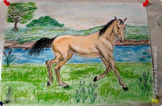 на улице дождь со снегом который день,так пусть хоть лошадка побегает по зелени и теплу.рисунок пастелью на акварельной бумаге формата А4.