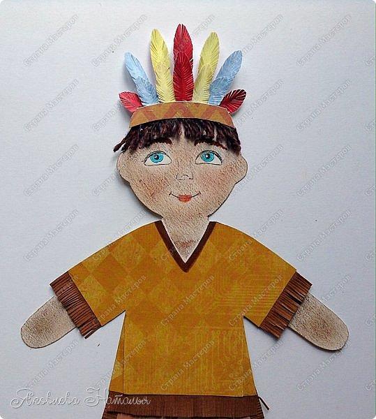 """Всем, здравствуйте! Мой мастер-класс посвящён созданию фигурок куколок для Арт-проекта """"Дети планеты""""  Оговорюсь сразу, что творческий процесс непредсказуем и на протяжении подготовки МК приходилось немного что-то добавлять, изменять. Но обо всём я написала. Вот такие две фигурки у меня родились. Девочка из России  и мальчик - индеец Для их изготовления мне потребовались следующие материалы: - плотный белый картон - скрапбумага - шпагат, шерстяные нитки для волос - фломастеры, гелевая чёрная ручка, сухая пастель - клей, ножницы, простой карандаш фото 30"""