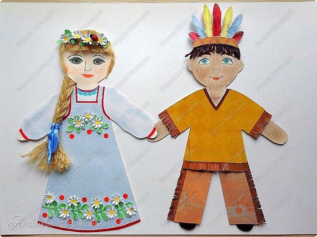 """Всем, здравствуйте! Мой мастер-класс посвящён созданию фигурок куколок для Арт-проекта """"Дети планеты""""  Оговорюсь сразу, что творческий процесс непредсказуем и на протяжении подготовки МК приходилось немного что-то добавлять, изменять. Но обо всём я написала. Вот такие две фигурки у меня родились. Девочка из России  и мальчик - индеец Для их изготовления мне потребовались следующие материалы: - плотный белый картон - скрапбумага - шпагат, шерстяные нитки для волос - фломастеры, гелевая чёрная ручка, сухая пастель - клей, ножницы, простой карандаш фото 1"""