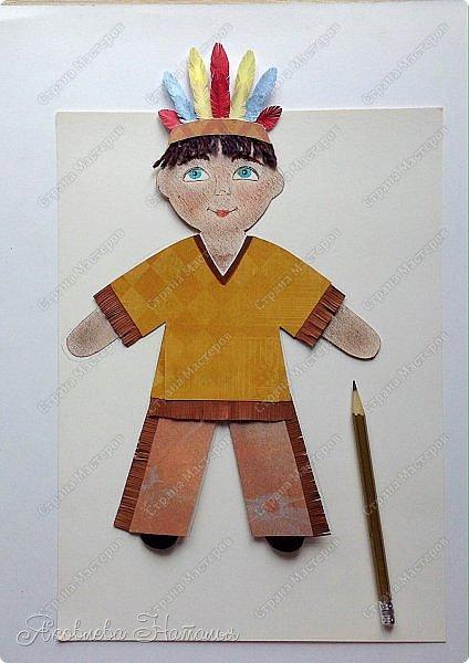 """Всем, здравствуйте! Мой мастер-класс посвящён созданию фигурок куколок для Арт-проекта """"Дети планеты""""  Оговорюсь сразу, что творческий процесс непредсказуем и на протяжении подготовки МК приходилось немного что-то добавлять, изменять. Но обо всём я написала. Вот такие две фигурки у меня родились. Девочка из России  и мальчик - индеец Для их изготовления мне потребовались следующие материалы: - плотный белый картон - скрапбумага - шпагат, шерстяные нитки для волос - фломастеры, гелевая чёрная ручка, сухая пастель - клей, ножницы, простой карандаш фото 31"""