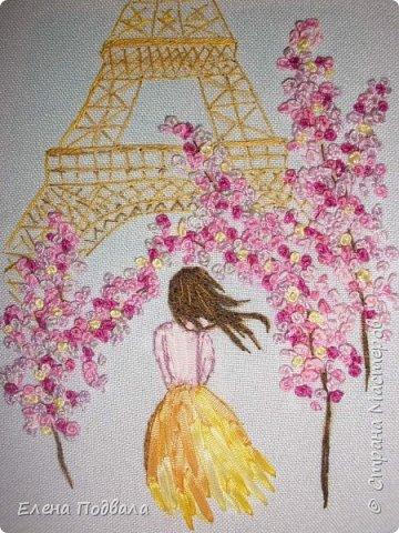 Приветствую всех друзей Страны Мастеров! Вышила на принте маленькое воспоминание о Париже... Посчастливилось мне дважды побывать в этом волшебном городе! Есть что вспомнить!!! Ностальгия по Парижу... Особенно по Эйфелевой башне и Сене... Вышивала с любовью! Размер картинки 150*190 мм, рамка-стекло. фото 3