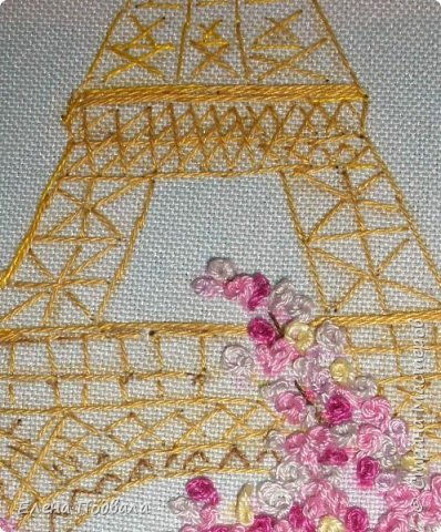 Приветствую всех друзей Страны Мастеров! Вышила на принте маленькое воспоминание о Париже... Посчастливилось мне дважды побывать в этом волшебном городе! Есть что вспомнить!!! Ностальгия по Парижу... Особенно по Эйфелевой башне и Сене... Вышивала с любовью! Размер картинки 150*190 мм, рамка-стекло. фото 4