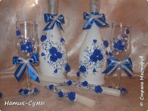 Декор бутылок, бокалов и свечей. Полностью ручная работа!!! фото 1