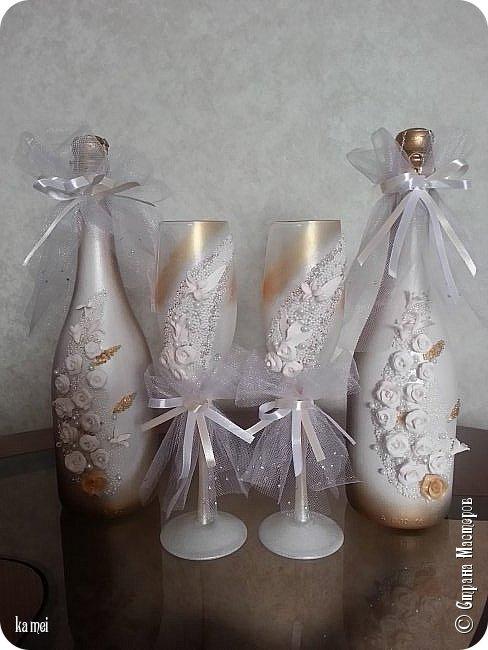Всем доброго времени! Через месяц намечается семейное торжество , женится мой единственный сынишка... Приготовила на его свадьбу бутылки - украшалки Этот наборчик на стол  для жениха и невесты фото 1