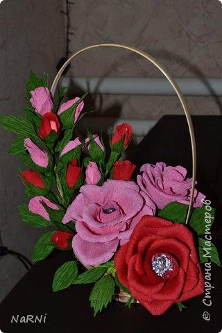 Цветочно-конфетный букетик из гофрированной бумаги. фото 3