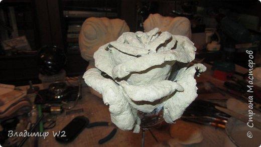 """Розу белую с черною жабой Я хотел на земле повенчать.  Для процесса """"венчания"""" понадобится; пластилин, силикон, картон гофра, масса папье-маше, фара автомобильная, пенопанель, оргалит, пластиковые трубки, кисти, краски, лак фото 14"""