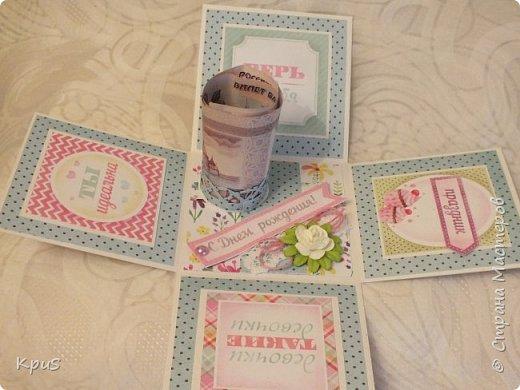 Добрый день жители СМ. Спешу показать Вам новую работу, законченную только что. Коробочка сделана в подарок девочке на день рождения. Поскольку, девочка-подросток решила совместить в этой работе несколько идей: поздравление, денежный подарок и сюрприз. фото 5