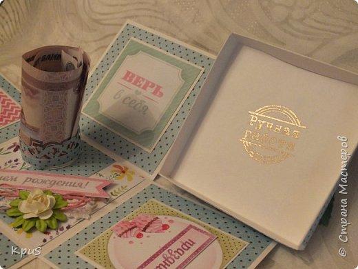 Добрый день жители СМ. Спешу показать Вам новую работу, законченную только что. Коробочка сделана в подарок девочке на день рождения. Поскольку, девочка-подросток решила совместить в этой работе несколько идей: поздравление, денежный подарок и сюрприз. фото 8