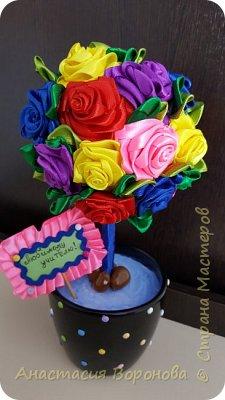 Топиарий из атласных роз фото 2