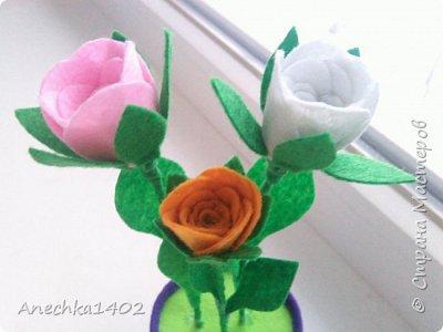 Цветочки из фетра фото 6