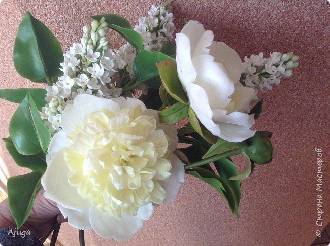 Сирень беленькая и пионы , лепка. фото 12