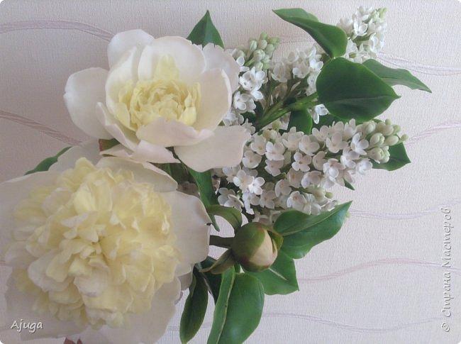 Сирень беленькая и пионы , лепка. фото 14