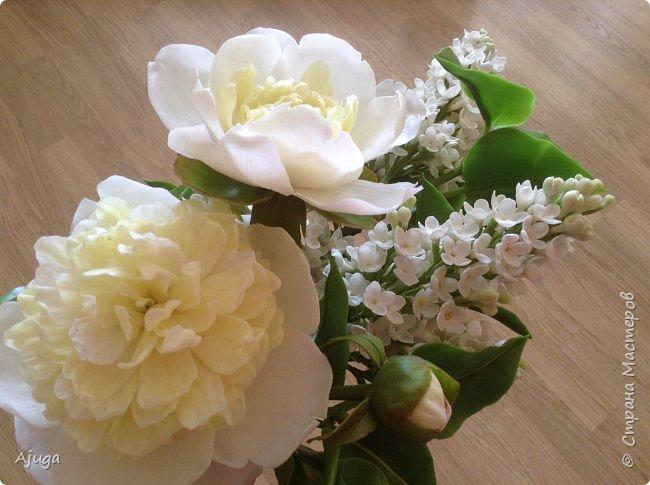 Сирень беленькая и пионы , лепка. фото 16