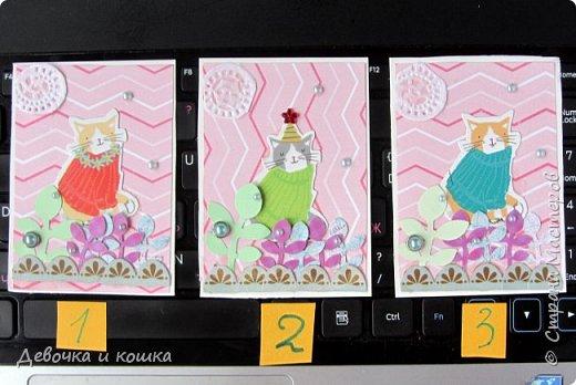 Всем привет. Эту серию АТС я сделала не просто так, а для совместного проекта по АТС. Поэтому все (!) карточки уже разобраны. Свободных нет. Просто хочу показать. Я взяла: вырезанных котят, надыраколинных листочков, брадс, полубусенки.