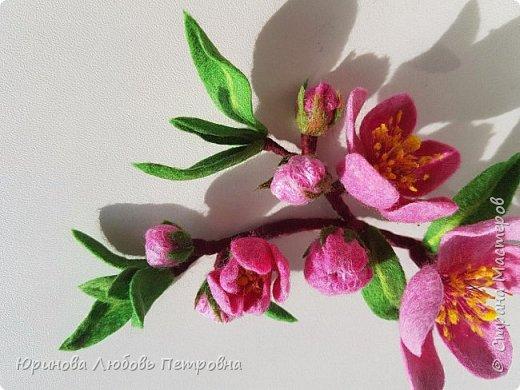 Ветка цветущего миндаля. Нежный весенний аксессуар-брошь. Шерсть. фото 4