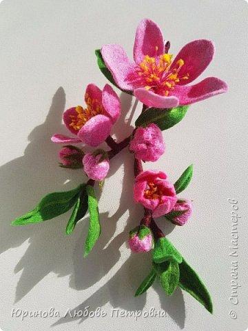 Ветка цветущего миндаля. Нежный весенний аксессуар-брошь. Шерсть. фото 2