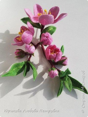 Ветка цветущего миндаля. Нежный весенний аксессуар-брошь. Шерсть. фото 8