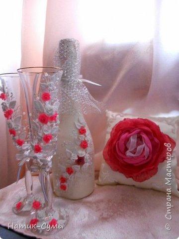 Декор бутылок, бокалов и свечей. Полностью ручная работа!!! фото 4