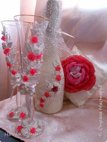 Декор бутылок, бокалов и свечей. Полностью ручная работа!!! фото 5