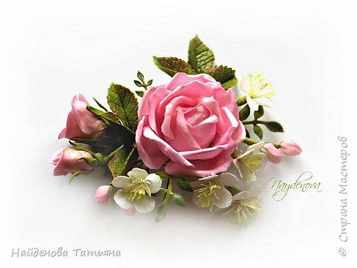 Роза с веточкой вишни  фото 2