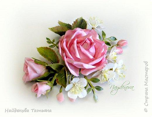 Роза с веточкой вишни  фото 1
