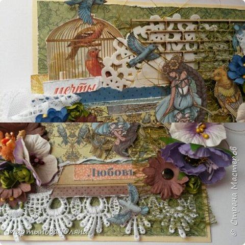 Открытка выполнена в технике  скрапбукинг. Многослойна, содержит в себе бумажные цветы,кружева, деревянный чипборд.  Основой открытки является бумага для пастели. Размер открытки составляет 15×15см. фото 4